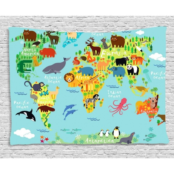 Australia Map Landmarks.Kids Animal Landmarks World Map Tapestry Nursery Nwt